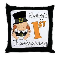 Babys First Thanksgiving Throw Pillow
