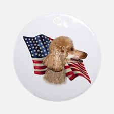 Poodle (Apr) Flag Ornament (Round)