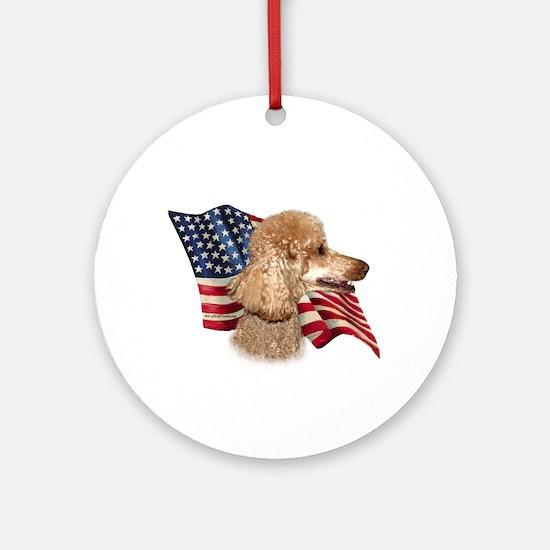 Poodle (Apr) Flag Ornament (Round)