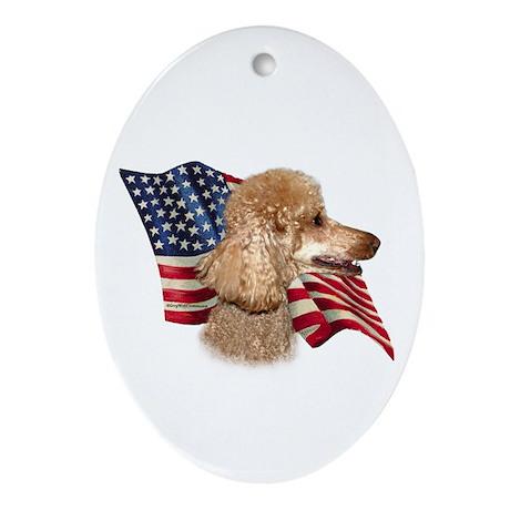 Poodle (Apr) Flag Oval Ornament