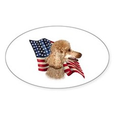 Poodle (Apr) Flag Oval Decal