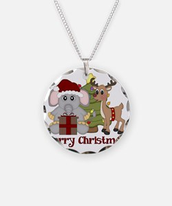 Christmas Elephant and Reind Necklace