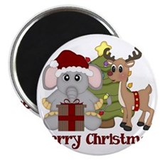 Christmas Elephant and Reindeer 2 Magnet