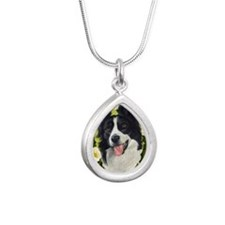 Seasonal Border Collie Silver Teardrop Necklace