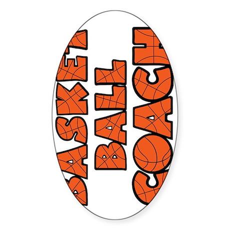 sideways orange black, Basketball C Sticker (Oval)