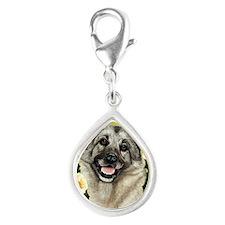 Seasonal Elkhound  Silver Teardrop Charm