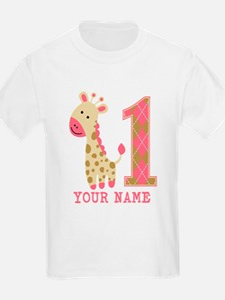 Pink Giraffe First Birthday - Personalized T-Shirt