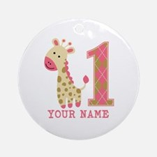 Pink Giraffe First Birthday - Personalized Ornamen