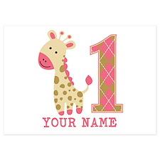Pink Giraffe First Birthday - Personalized 5x7 Fla