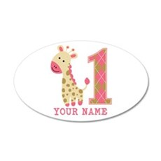 Pink Giraffe First Birthday - Personalized 20x12 O