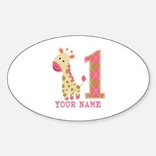 Pink Giraffe First Birthday - Personalized Decal