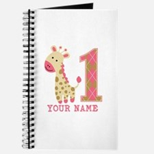 Pink Giraffe First Birthday - Personalized Journal