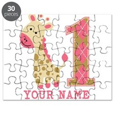 Pink Giraffe First Birthday - Personalized Puzzle