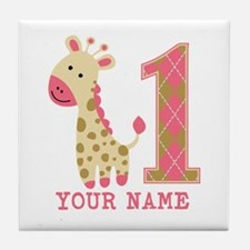 Pink Giraffe First Birthday - Personalized Tile Co