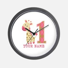 Pink Giraffe First Birthday - Personalized Wall Cl