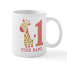 Pink Giraffe First Birthday - Personalized Mug