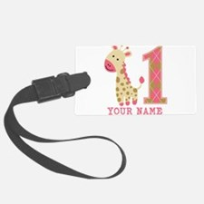 Pink Giraffe First Birthday - Personalized Luggage Tag