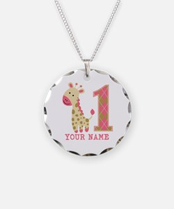 Pink Giraffe First Birthday - Personalized Necklac