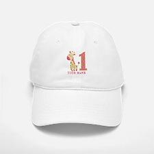 Pink Giraffe First Birthday - Personalized Baseball Baseball Cap