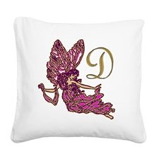 Fairy Monogram D Square Canvas Pillow