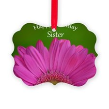 Pink Gerber Sister Birthday Ornament