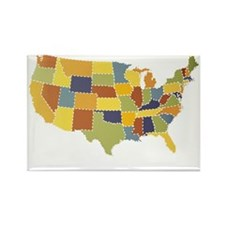 usa map puzzle Rectangle Magnet