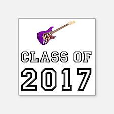 "Class Of 2017 Guitar Black  Square Sticker 3"" x 3"""