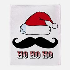 Mustache Santa Red Throw Blanket