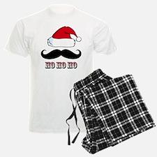 Mustache Santa Red Pajamas