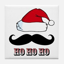 Mustache Santa Red Tile Coaster