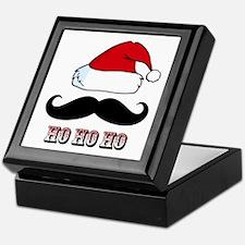 Mustache Santa Red Keepsake Box