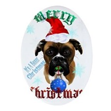 Merry Christmas-Santa Boxer Trans Oval Ornament