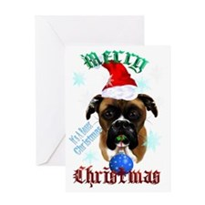 Merry Christmas-Santa Boxer Trans Greeting Card