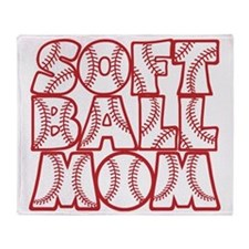 red, Softball Mom Throw Blanket