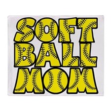 yellow black, Softball Mom Throw Blanket