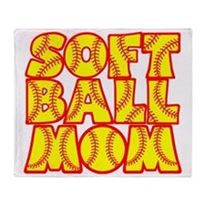 neon red yellow, Softball Mom Throw Blanket