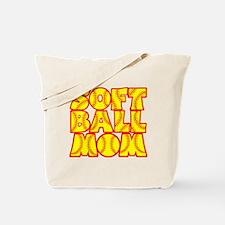 neon red yellow, Softball Mom Tote Bag