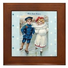 Vintage Boy & Girl IceSkating on Blue  Framed Tile