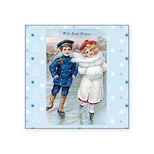 "Vintage Boy & Girl IceSkati Square Sticker 3"" x 3"""