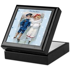 Vintage Boy & Girl IceSkating on Blue Keepsake Box