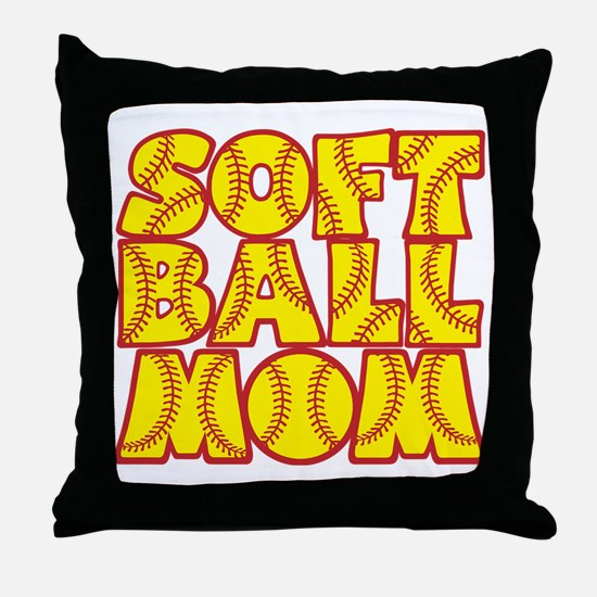 red yellow, Softball Mom Throw Pillow