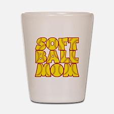 red yellow, Softball Mom Shot Glass