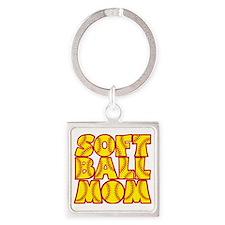 red yellow, Softball Mom Square Keychain