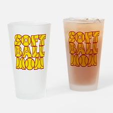 red yellow, Softball Mom Drinking Glass