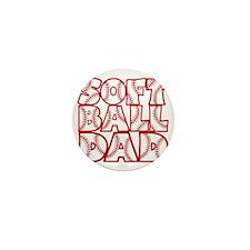 red, Softball Dad Mini Button