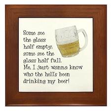 Half Glass Of Beer Framed Tile