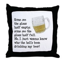 Half Glass Of Beer Throw Pillow