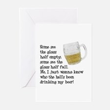 Half Glass Of Beer Greeting Cards (Pk of 10)