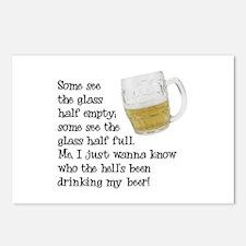Half Glass Of Beer Postcards (Package of 8)