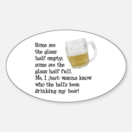 Half Glass Of Beer Oval Decal